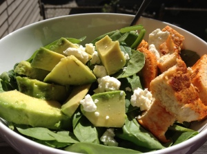 Quorn cutlet, Frank's RedHot, avocado, feta, and baby spinach.