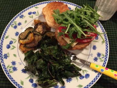 Veggie burger with sauteed swiss chard and grilled squash